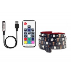 Banda LED Multicolor USB 5050 RGB Flexibila Decorat Exterior Interior 1M Waterproof cu Telecomanda