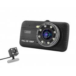 Camera Video Auto Novatek T800 Dubla 8 Led-uri Nightvision tip LED FullHD 12MPx si Display 4""