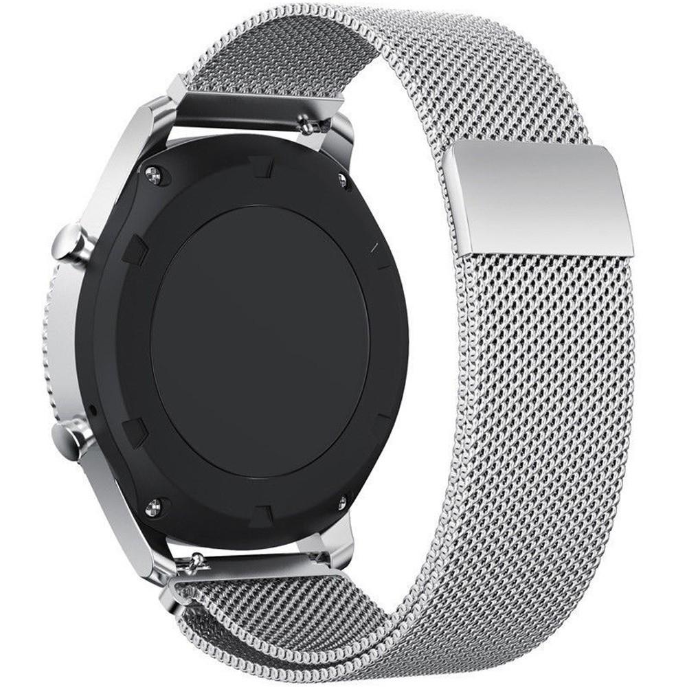 Curea ceas Smartwatch Samsung Gear S2 Silver Milanese Loop, iUni 20 mm Otel Inoxidabil