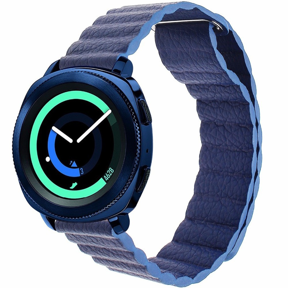 Curea piele Smartwatch Samsung Gear S2, iUni 20 mm Blue Leather Loop imagine