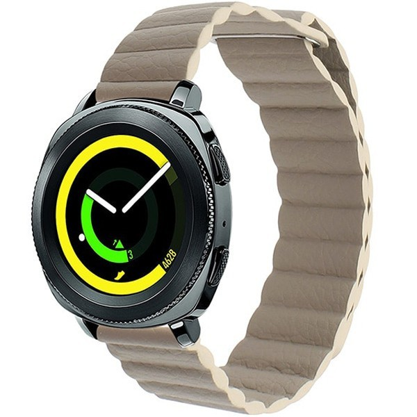 Curea piele Smartwatch Samsung Gear S2, iUni 20 mm Kaki Leather Loop