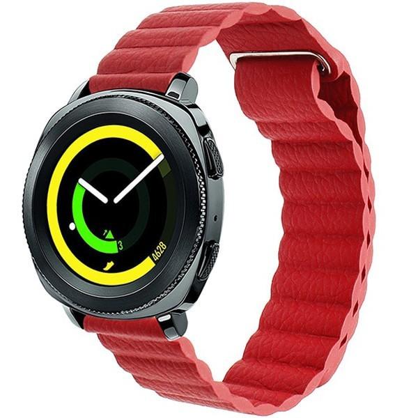 Curea piele Smartwatch Samsung Gear S2, iUni 20 mm Red Leather Loop imagine techstar.ro 2021