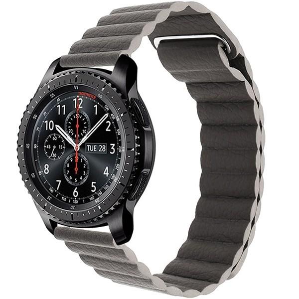 Curea piele Smartwatch Samsung Gear S2, iUni 20 mm Dark Gray Leather Loop imagine techstar.ro 2021