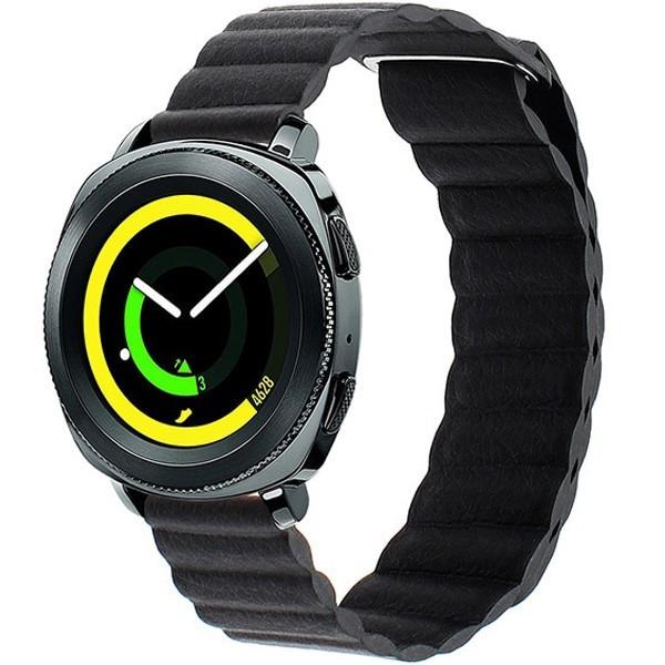 Curea piele Smartwatch Samsung Gear S2, iUni 20 mm Black Leather Loop