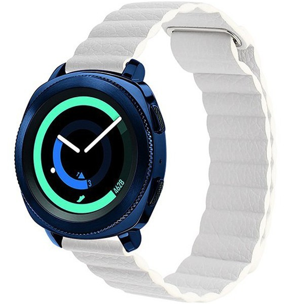 Curea piele Smartwatch Samsung Gear S2, iUni 20 mm White Leather Loop