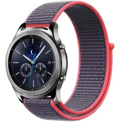Curea ceas Smartwatch Samsung Gear S3, iUni 22 mm Soft Nylon Sport, Purple-Electric Pink