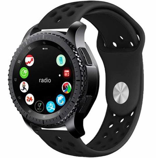 Curea ceas Smartwatch Samsung Gear S2, iUni 20 mm Silicon Sport Black imagine techstar.ro 2021