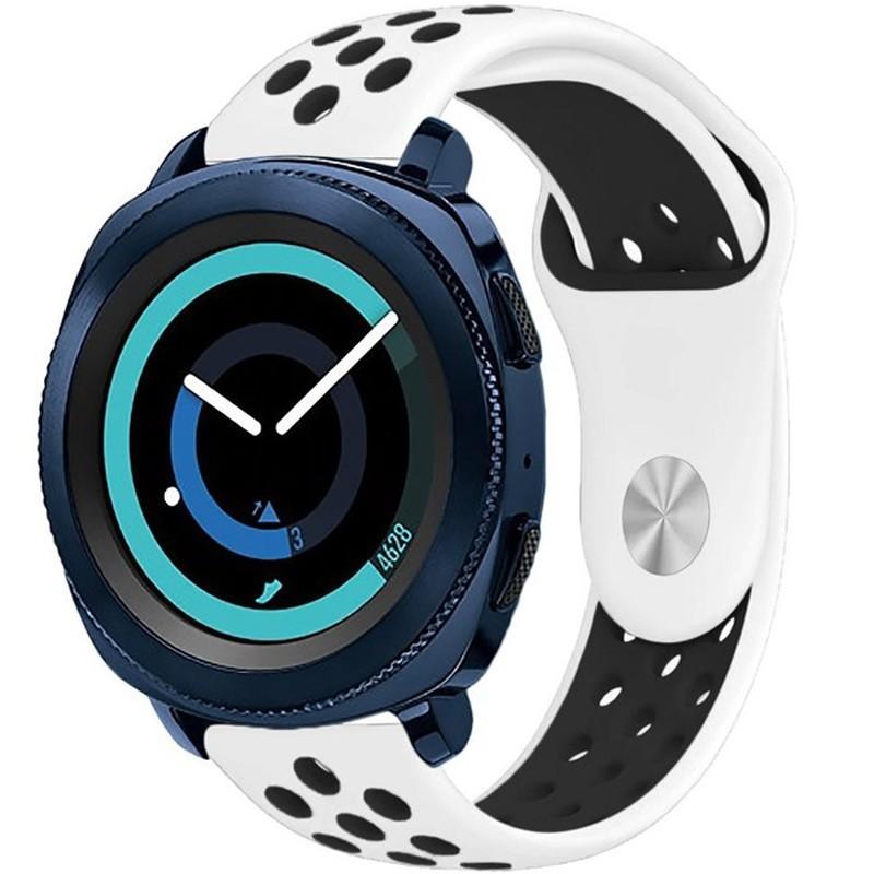 Curea ceas Smartwatch Samsung Gear S2, iUni 20 mm Silicon Sport White-Black