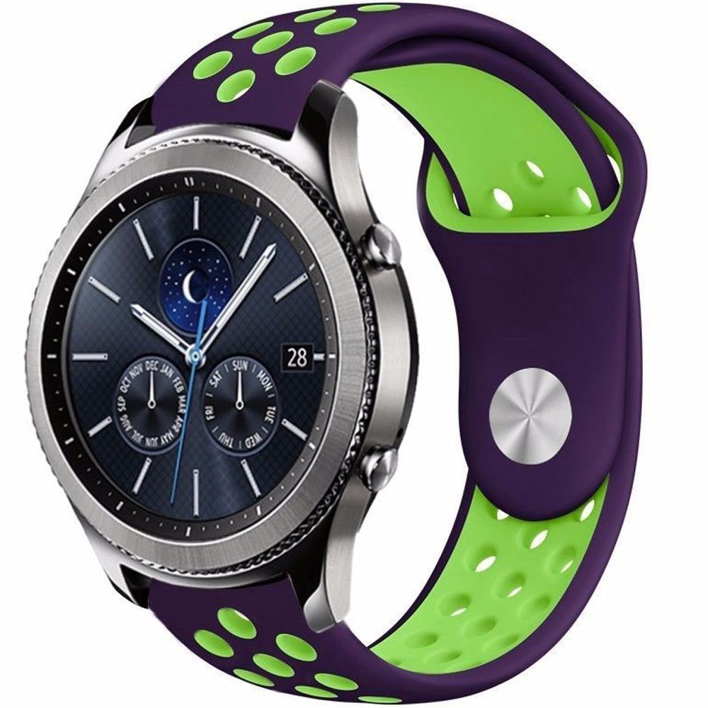 Curea ceas Smartwatch Samsung Gear S2, iUni 20 mm Silicon Sport Purple-Green