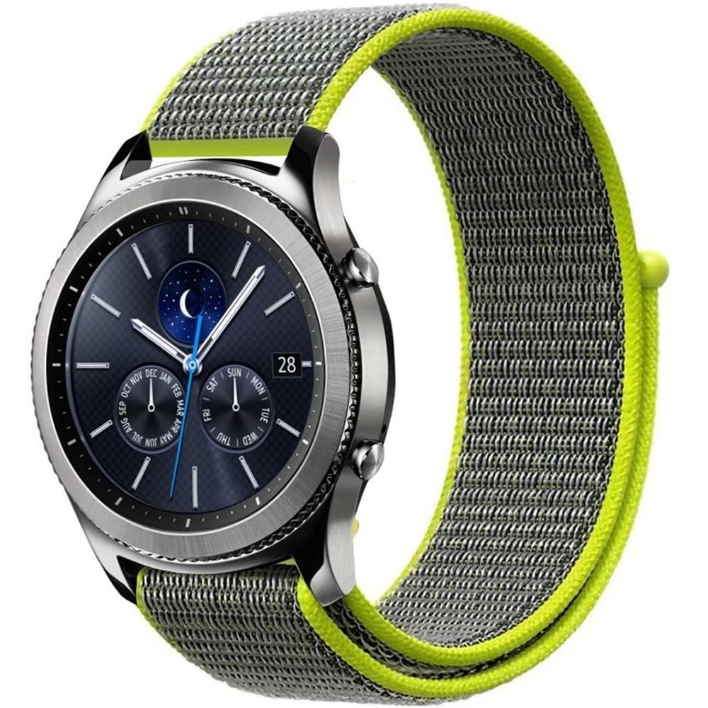 Curea Ceas Smartwatch Samsung Gear S2, Iuni 20 Mm Soft Nylon Sport, Gray-electric Green