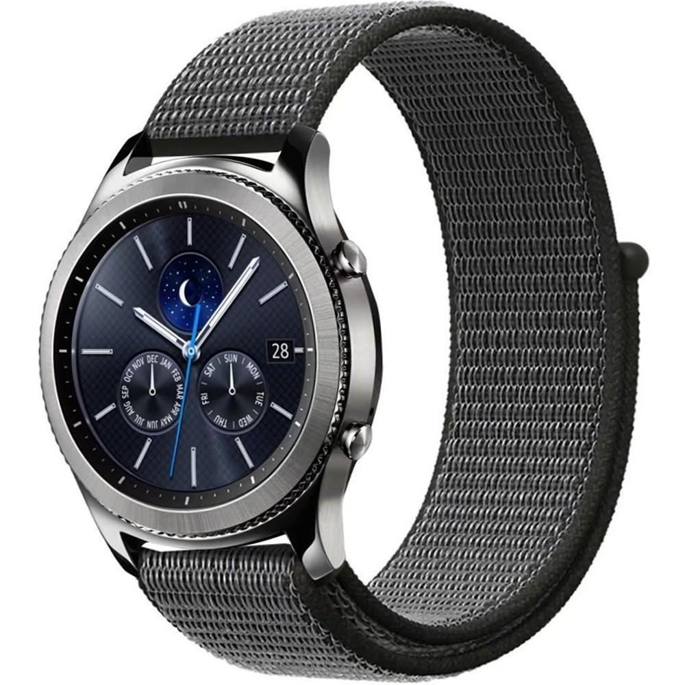 Curea ceas Smartwatch Samsung Gear S2, iUni 20 mm Soft Nylon Sport, Midnight Gray