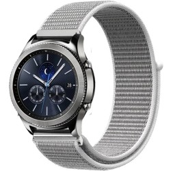 Curea ceas Smartwatch Samsung Gear S3, iUni 22 mm Soft Nylon Sport, White Gray