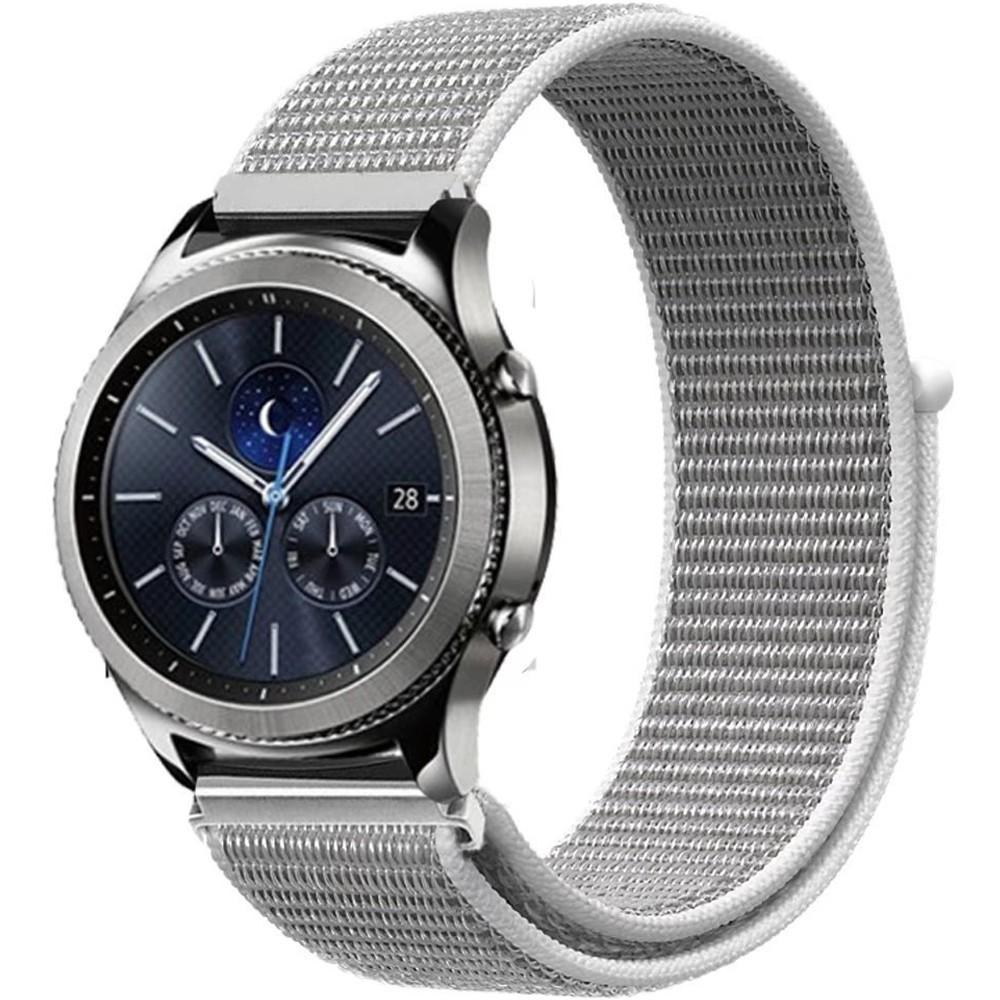 Curea Ceas Smartwatch Samsung Gear S2, Iuni 20 Mm Soft Nylon Sport, White Gray