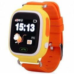 Ceas Smartwatch copii cu GPS iUni Q90, Touchscreen, Telefon incorporat, Buton SOS, Portocaliu