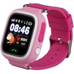 Ceas Smartwatch copii cu GPS iUni Q90, Touchscreen, Telefon incorporat, Buton SOS, Roz