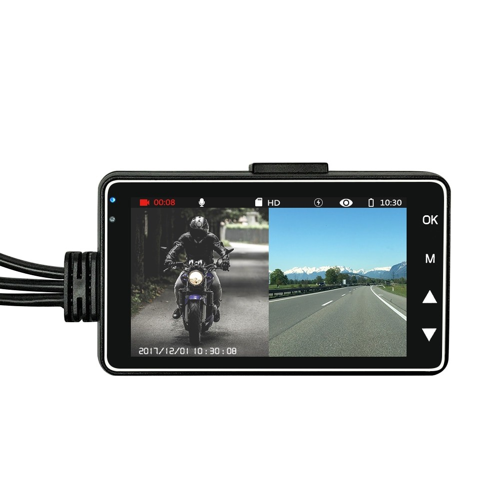 Camera Video Motocicleta Dubla Techstar® MT18 3MP HD 720P 50fps Waterproof Display 3Inch