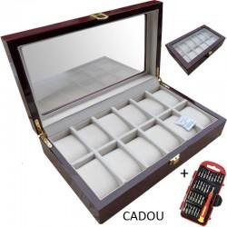 Cutie depozitare 12 ceasuri - LEMN + Trusa Ceasornicar CADOU
