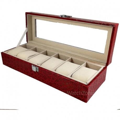 Cutie depozitare din piele rosu-visiniu pentru 6 ceasuri