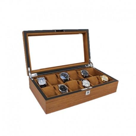 Caseta Depozitare Pentru Ceasuri Cu 12 Spatii Din Lemn Culoare Maro LUX