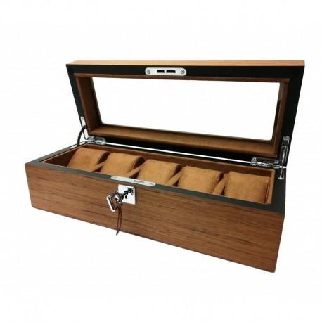 Cutie Depozitare și expunere 5 ceasuri lemn maro - PREMIUM