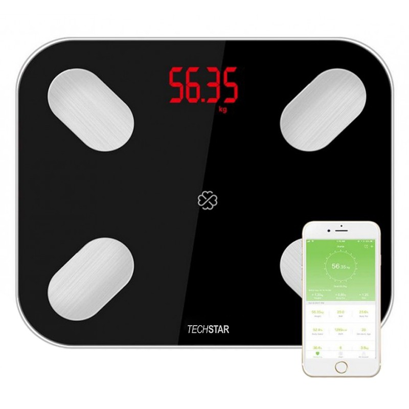 Cantar Electronic Smart Techstar® Negru Display Digital Wireless Bluetooth Greutate 180kg Max Compatibil Android & iOS