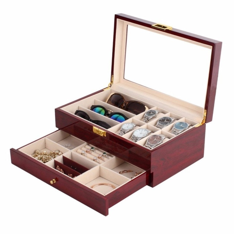 Cutie depozitare ceasuri, ochelari și bijuterii LEMN imagine techstar.ro 2021