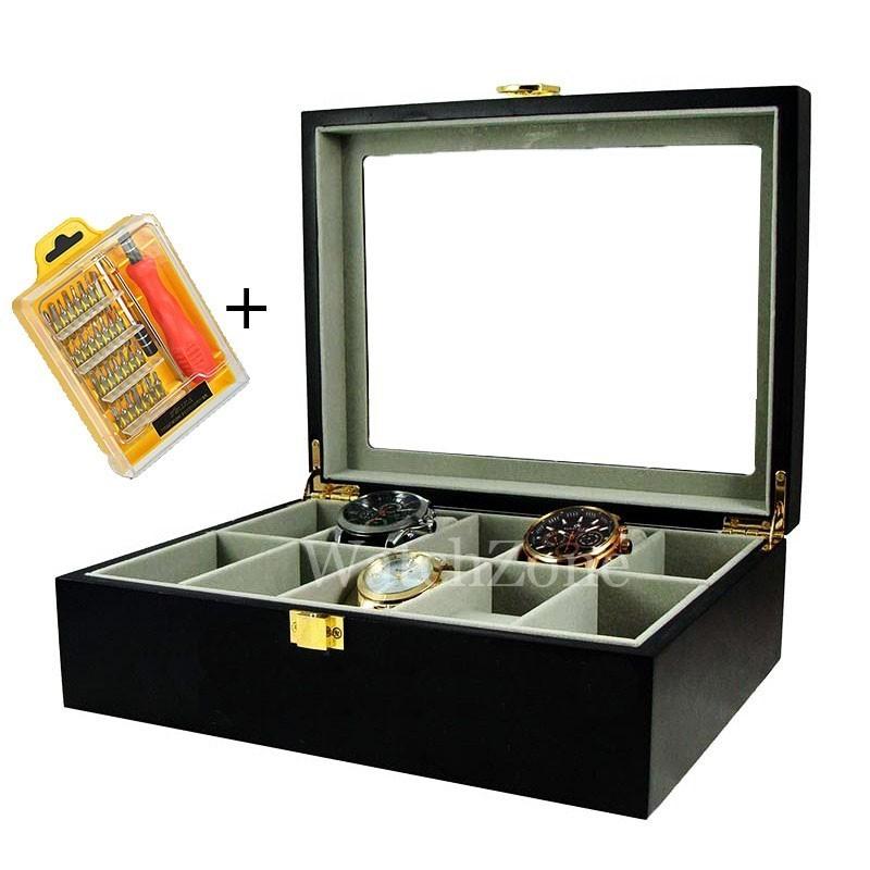 Cutie depozitare ceasuri lemn masiv 10 spatii neagra + CADOU