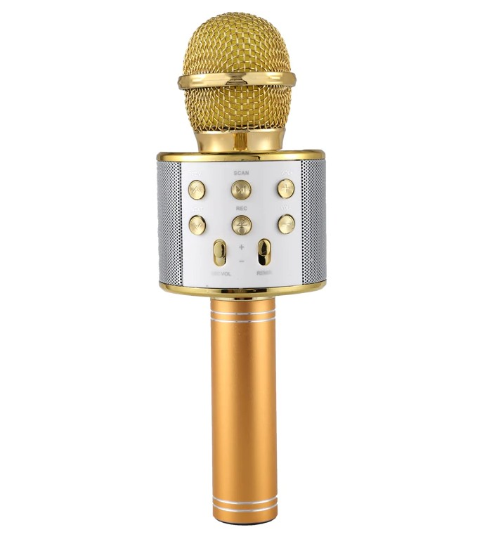 Microfon Profesional Karaoke Smart WS-858 Auriu Hi-Fi Conexiune Wireless Bluetooth 4.1 cu Difuzor si Acumulator Incorporat