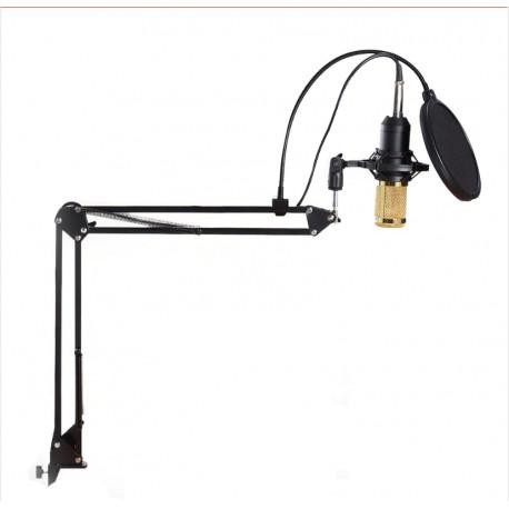 Microfon Profesional de Studio Condenser BM800 cu stand inclus pentru Inregistrare Voacala, Streaming, Gaming, Karaoke