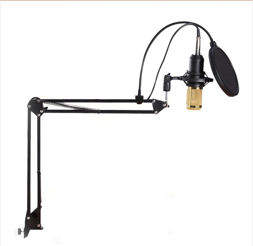 Microfon Profesional de Studio Condenser BM800 cu stand inclus pentru Inregistrare Vocala, Streaming, Gaming, Black Gold imagine techstar.ro 2021