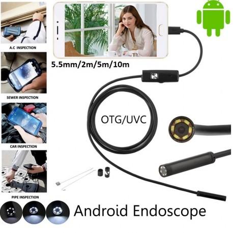 Set Camera endoscop pentru Android si PC, 6 Leduri, 5m x 5.5mm + tester auto Mini ELM327 Bluetooth V2.1