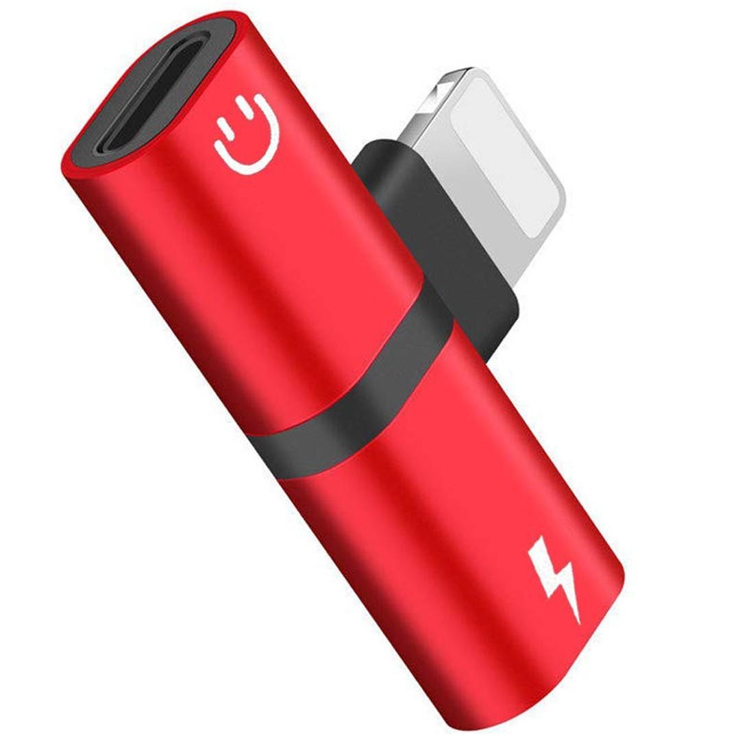 Mini Adaptor Lightning Splitter iUni dual port, pentru casti si incarcare iPhone, Red