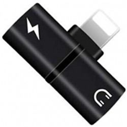 Mini Adaptor Lightning Splitter iUni dual port, pentru casti si incarcare iPhone, Black