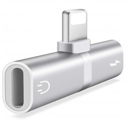 Mini Adaptor Lightning Splitter iUni dual port, pentru casti si incarcare iPhone, Silver