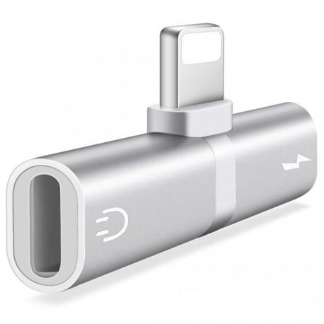 Mini Adaptor Lightning Splitter iUni dual port, pentru casti si incarcare iPhone, Silver