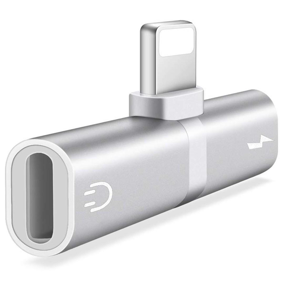 Mini Adaptor Lightning Splitter iUni dual port, pentru casti si incarcare iPhone, Silver imagine techstar.ro 2021