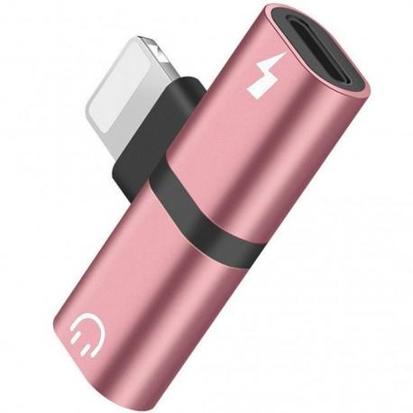 Mini Adaptor Lightning Splitter iUni dual port, pentru casti si incarcare iPhone, Rose Gold