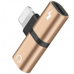 Mini Adaptor Lightning Splitter iUni dual port, pentru casti si incarcare iPhone, Gold