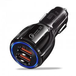 Incarcator Auto Dual 2 USB Techstar® Negru 9V 2A Adaptor Bricheta Qualcomm QuickCharge 3.0