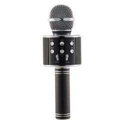 Microfon Profesional Karaoke Smart WS-858 Negru Hi-Fi Conexiune Wireless Bluetooth 4.1 cu Difuzor si Acumulator Incorporat