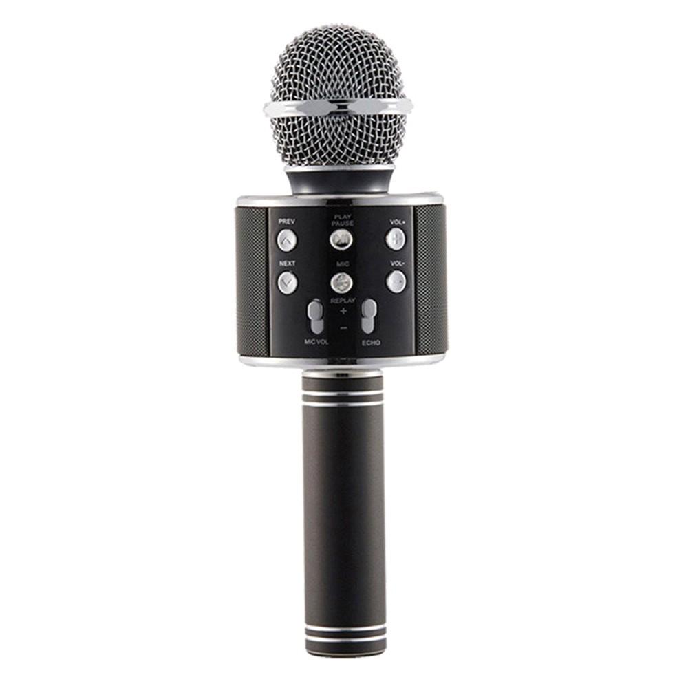 Microfon Profesional Karaoke Smart WS-858 Negru Hi-Fi Conexiune Wireless Bluetooth 4.1 cu Difuzor si Acumulator Incorporat imagine techstar.ro 2021
