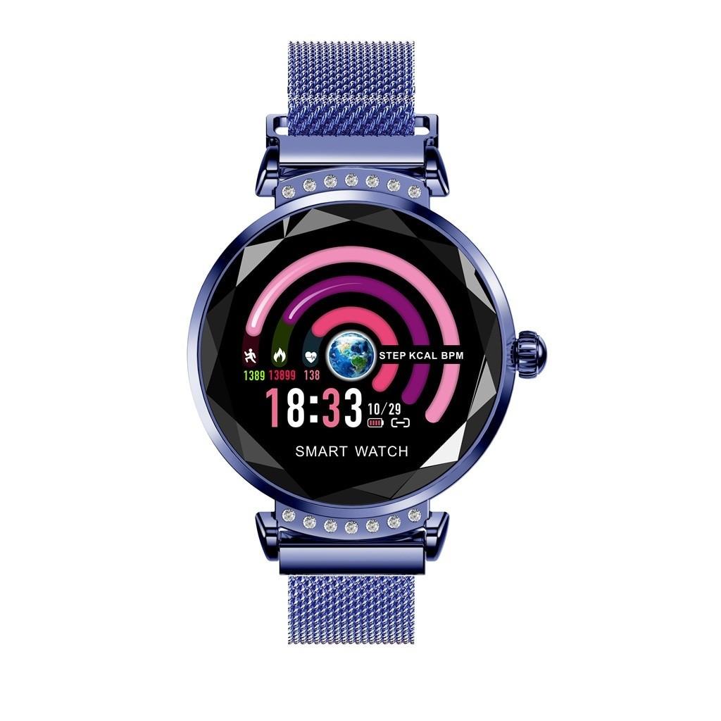 Smartwatch Fitness Sport Albastru Elegant pentru Dama Techstar® H2 cu Monitorizare Somn si Cardiaca