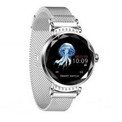 Smartwatch Fitness Sport Waterproof Argintiu Elegant pt Dama H2 cu Monitorizare Somn si Cardiaca
