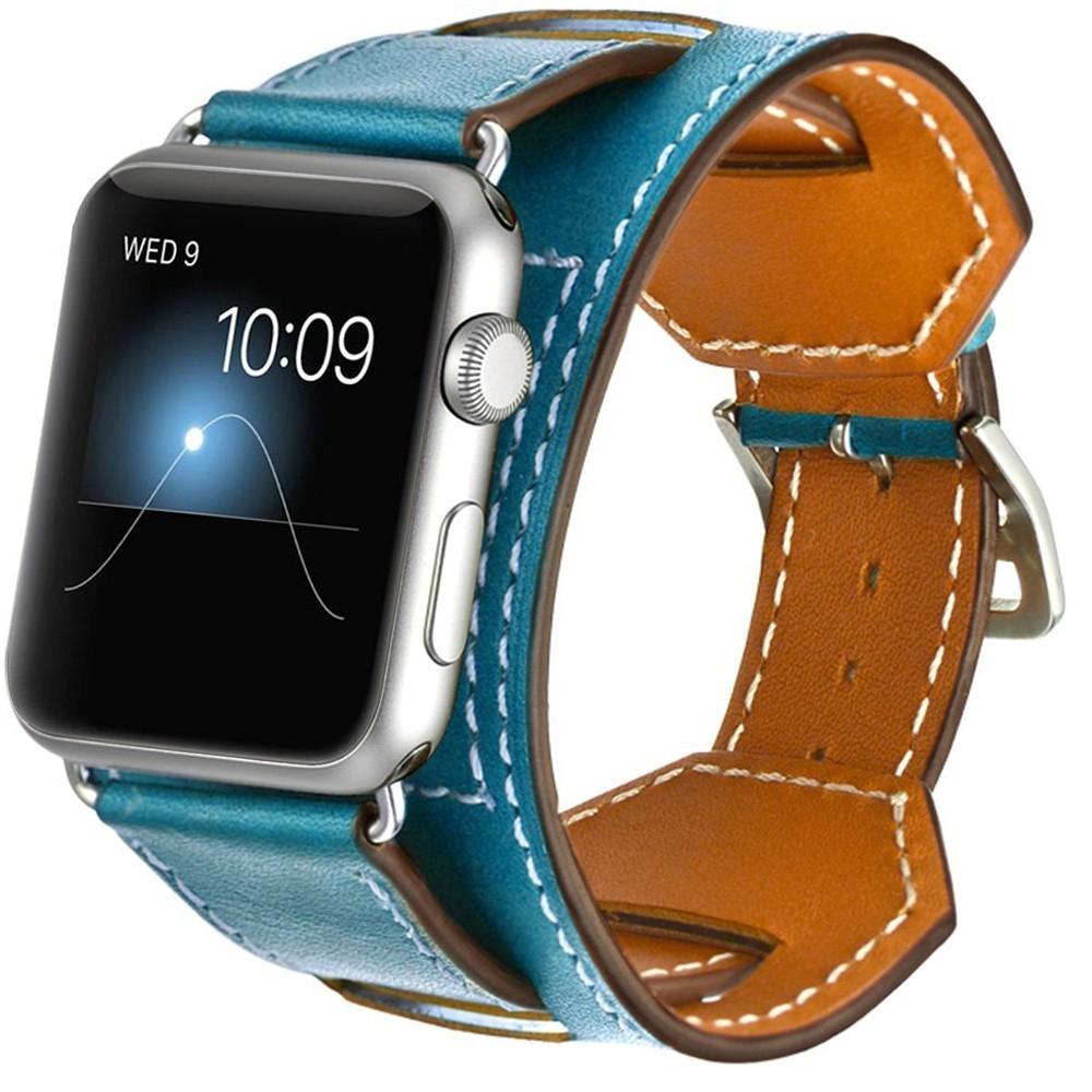 Curea pentru Apple Watch 44mm Piele 4 in 1 iUni Cuff Albastru