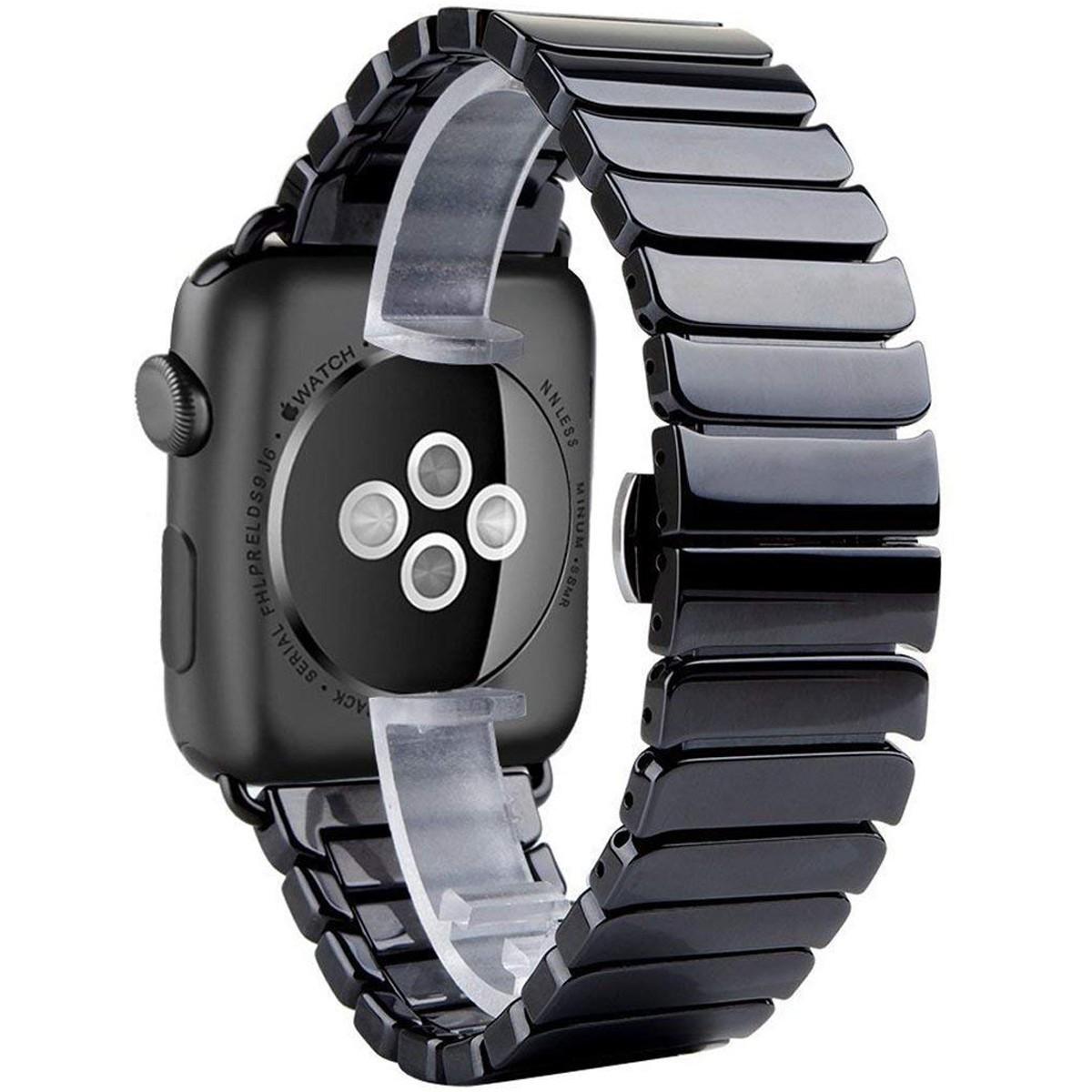 Curea pentru Apple Watch 44mm iUni Ceramic Belt, Black