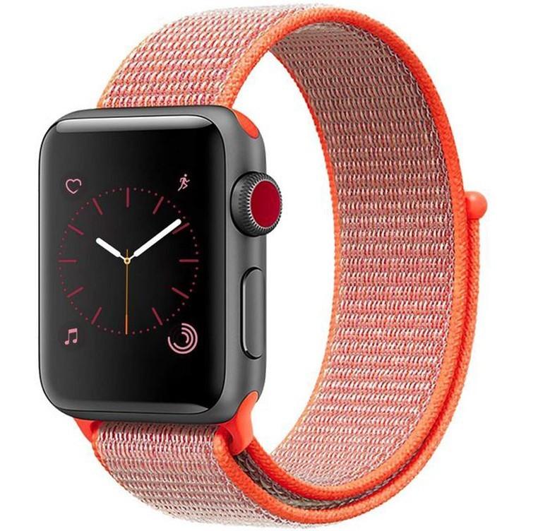 Curea pentru Apple Watch 44mm iUni Woven Strap, Nylon Sport, Electric Orange