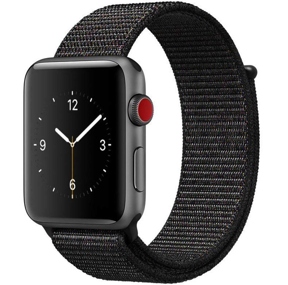 Curea pentru Apple Watch 44mm iUni Woven Strap, Nylon Sport, Dark Black