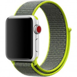 Curea pentru Apple Watch 44mm iUni Woven Strap, Nylon Sport, Gray-Electric Green