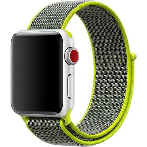 Curea pentru Apple Watch 40mm iUni Woven Strap, Nylon Sport, Gray-Electric Green