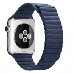 Curea piele pentru Apple Watch 44mm iUni Midnight Blue Leather Loop